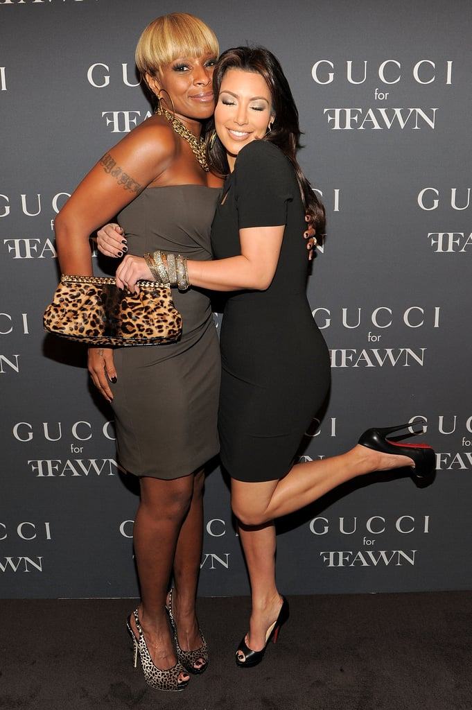 Kim Kardashian hugged it out with Mary J. Blige at the Gucci event in 2010.