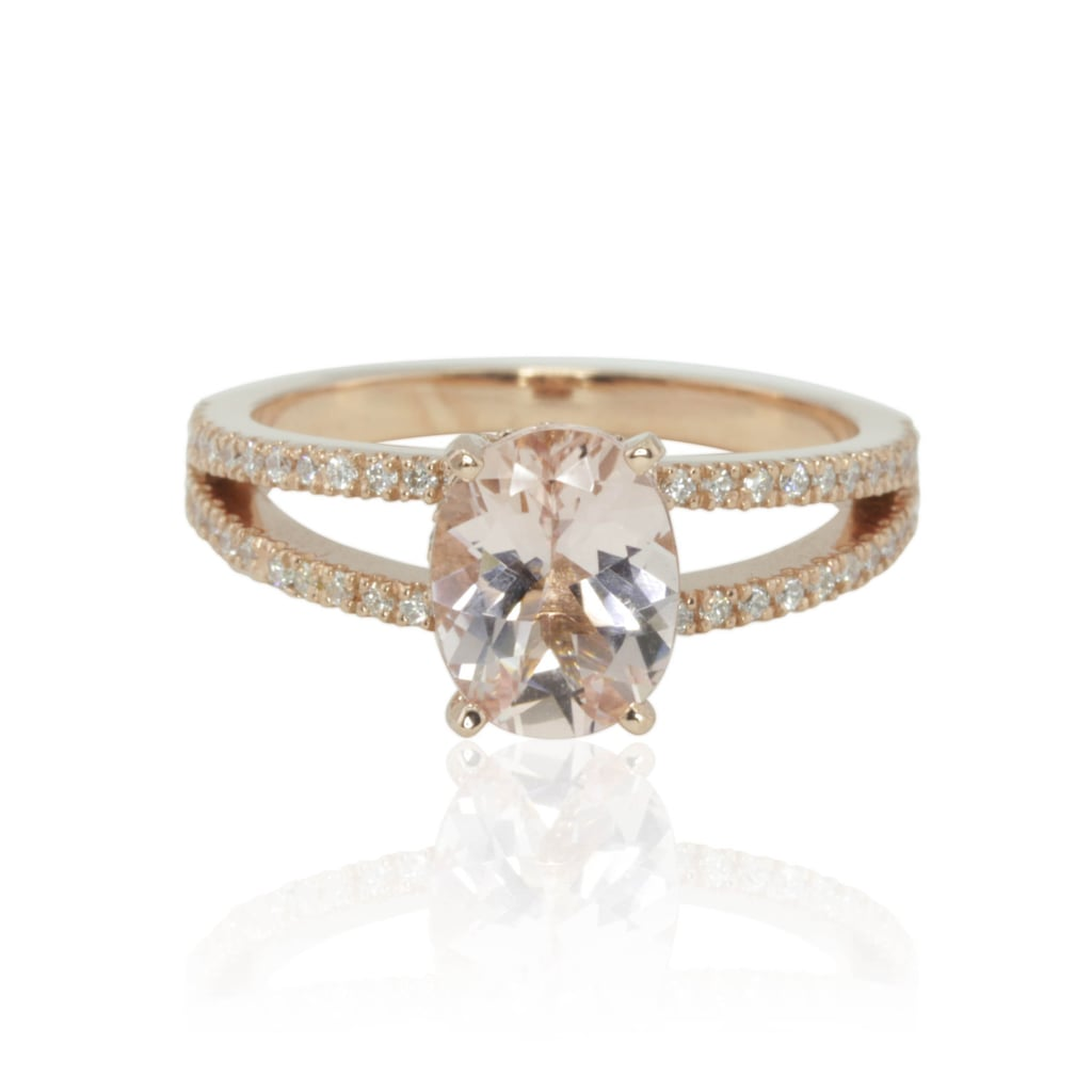 This morganite engagement ring features a split band with diamonds ($2,201) and oval center stone.