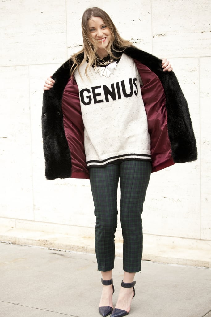 Truly, this is a genius bit of casual wear, thanks to a cheeky sweater, printed pants, and a pair of ankle-strap pumps.