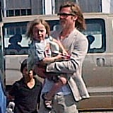 Brad Pitt arrived for his family vacation.
