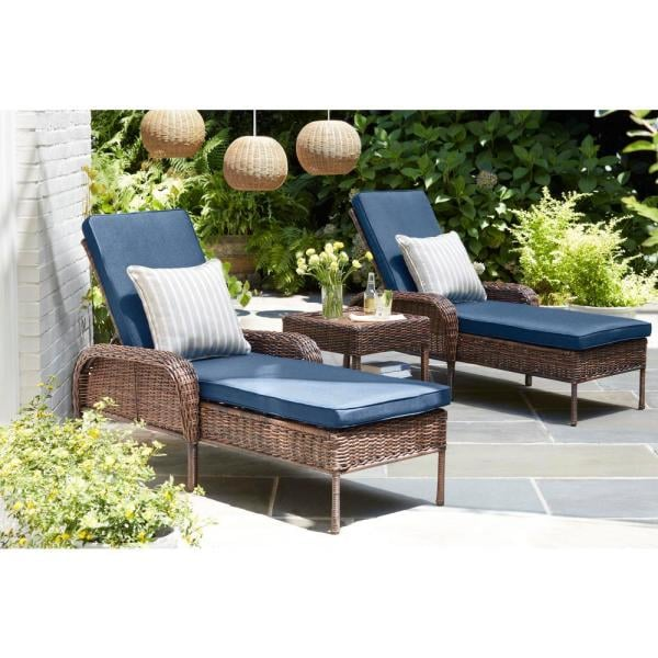 Hampton Bay Cambridge Brown Wicker Outdoor Patio Chaise Lounge