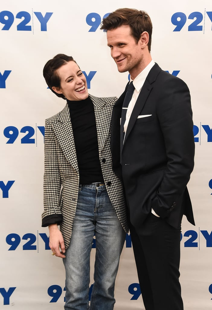 As we're getting closer to the release of the second season of The Crown, Claire Foy and Matt Smith have been busy promoting their hit Netflix show. After having posed on the red carpet for the world premiere in London, the stars made their way across the pond, and it's clear that they've been having the time of their lives. Over the past couple of days, Claire — who sadly won't be returning for seasons three and four — has been adorably giggling in front of the cameras, perfectly summing up why we want to be BFFs with Matt. Read on to see more pictures of the two British actors, and mark your calendars: the royal drama will be back on Dec. 8.