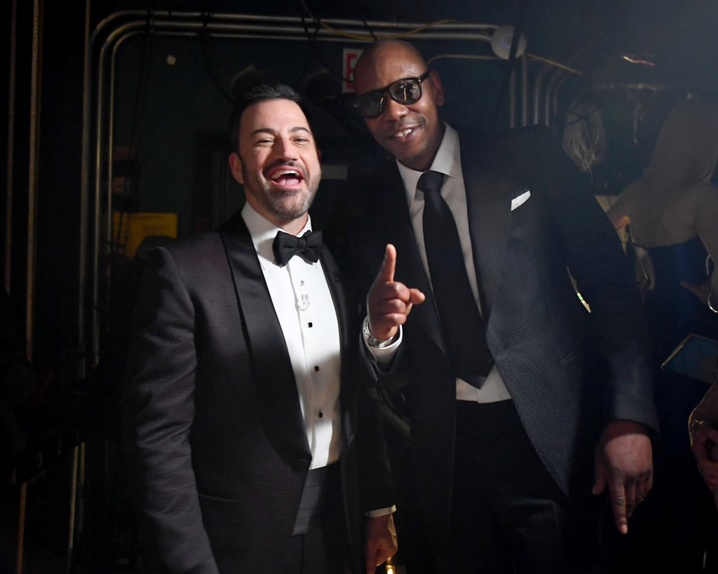 Pictured: Jimmy Kimmel and Dave Chappelle