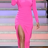 Jennifer stunned everyone when she stepped out in this hot-pink Michael Kors dress. What's not to love? Not only was the color amazing but the thigh-high slit made it even more fierce.