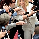 Britney Spears greeted fans in Germany on Thursday, as she promoted her brand new lingerie line.