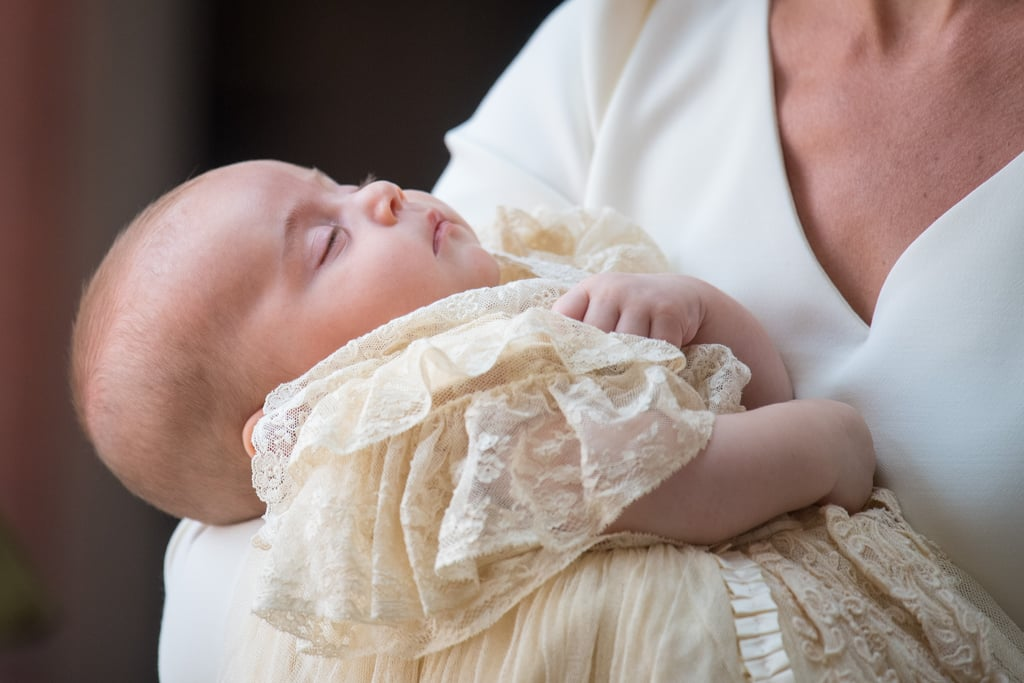 "Listen, getting baptized is hard work, and sometimes you just need a nap before the sacrament. Prince Louis proved this fact when he arrived at his own christening on Monday in London, snoozing soundly in the arms of his mom, Kate Middleton. Kate, clad in a bespoke Alexander McQueen ensemble, held on to her sleepy 3-month old son as they greeted the Archbishop of Canterbury at the Chapel Royal on the grounds of St. James's Palace. At one point, the duchess even quipped, ""I hope he stays like this.""      Related:                                                                                                           Prince Louis's Godparents Have Been Announced               Louis's ceremony was nearly identical to the christenings of his older siblings, Prince George and Princess Charlotte, who stayed close to Prince William on their way into the church. Louis is fifth in line for the throne, after his sister Charlotte and before his Uncle Harry, who was in attendance at his christening along with Meghan Markle, the newly appointed Duchess of Sussex. Meghan and Harry held hands as they arrived at the church behind Kate, William, and their kids. Also in attendance were Louis's other aunt and uncle, Pippa and James Middleton, but missing from the action were Queen Elizabeth II and Prince Philip, who announced shortly before that they would not be present at the christening. Louis likely didn't notice their absence because, you know, he was sleeping."