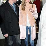 As yet the most recent example of Kate Bosworth's elegantly polished take on dressing, the actress wore simple jeans with white, pointy-toe heels and a peachy fur-block coat.