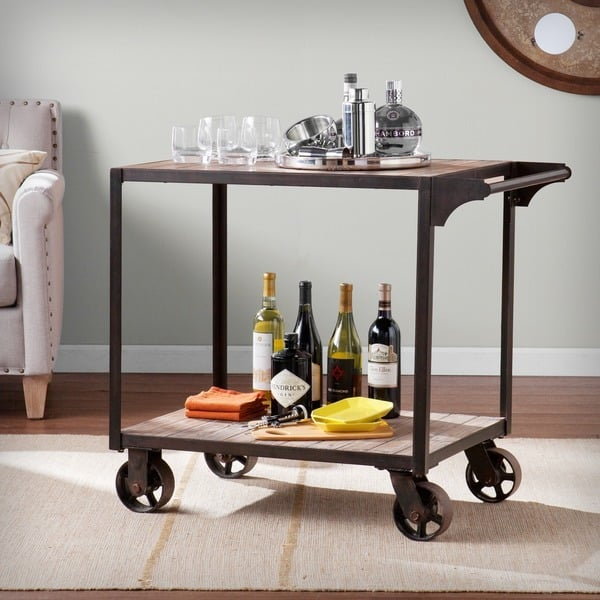 Furniture of America Stewardee Contemporary Mobile Kitchen Bar ...