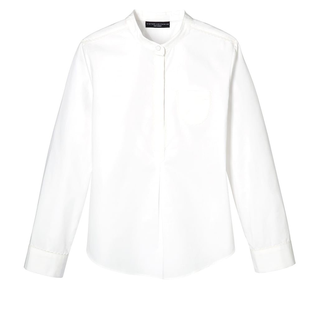 Girls' White Poplin Button Down Top with Pocket  ($20)