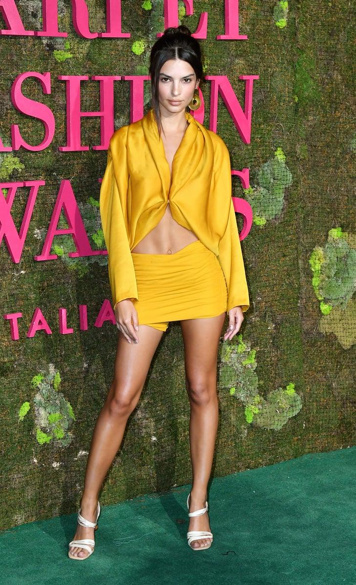 5da63e9e6d9900 Emily Ratajkowski Yellow Outfit at Green Carpet Awards 2018 ...