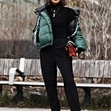Winter Outfit Idea: A Sporty Puffer and All-Black Outfit