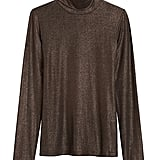 Metallic Soft Stretch Turtleneck T-Shirt