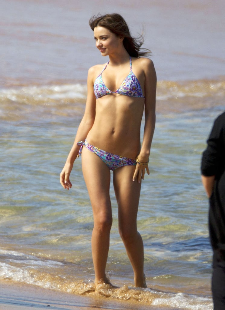 Miranda Kerr hit the beach in Sydney while on a photo shoot in August 2012.