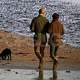 Kate Middleton and Prince William strolled the beach with their new puppy.