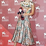 Keira Knightley in a Mary Katrantzou dress.