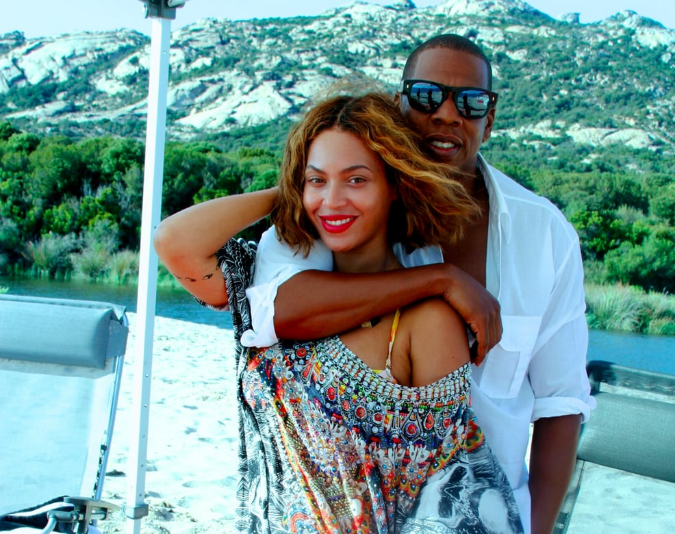 """It's been a little over a week since we saw Beyoncé celebrating her birthday in Corsica with Jay Z and Blue Ivy, but now we're getting an up-close and personal look at all the fun. Beyoncé shared snaps from the escape on her personal website, and they are jam-packed with flawless bikini shots and adorable PDA. The photos come during the latest swirl of pregnancy rumours, which reemerged when Jay Z changed the lyrics to his song """"Beach Is Better"""" during the final performance of their On the Run tour in Paris. We won't know if any exciting announcements were made until the HBO special airs this weekend, but in the meantime, these adorable pics should tide you over. And while you're at it, you may as well look at this gorgeous house they recently rented."""