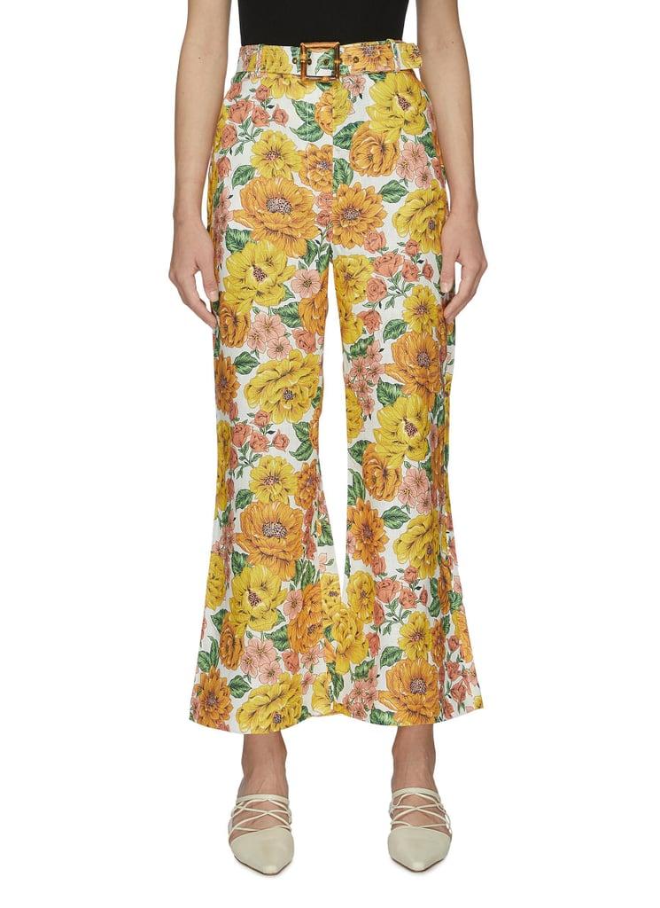 Zimmermann Yellow Poppy Floral Print Flare Leg Pants