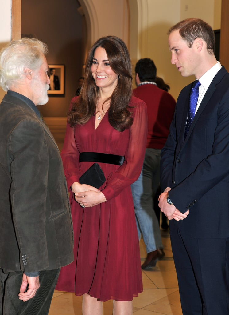 She wore a burgundy Whistles dress to the National Portrait Gallery in early 2013 for the unveiling of a new portrait of the duchess.