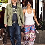 Halle Berry and Olivier Martinez walked hand in hand through a Malibu shopping center.