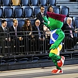 Kate Middleton and Prince William watched the 2014 Glasgow Commonwealth Games mascot Clyde run around the track.