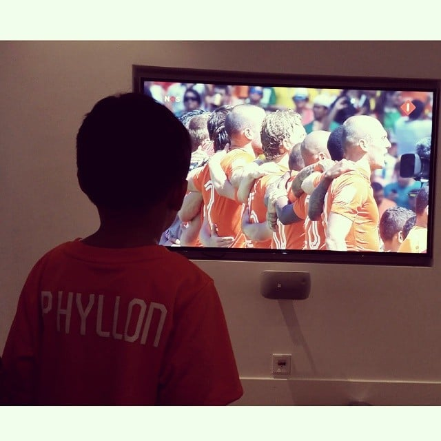 Phyllon James showed his Netherlands pride during the Netherlands-Mexico World Cup game. Source: Instagram user doutzen