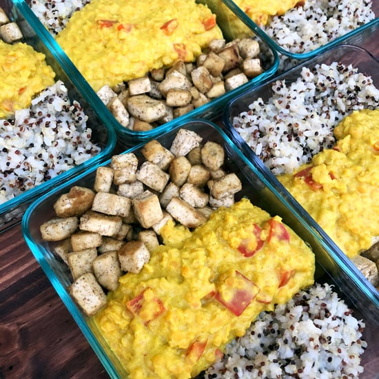 Vegan Curried Coconut Lentils, Tofu, and Quinoa Meal Prep