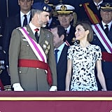 Letizia smiled at her husband during a May ceremony in Madrid.