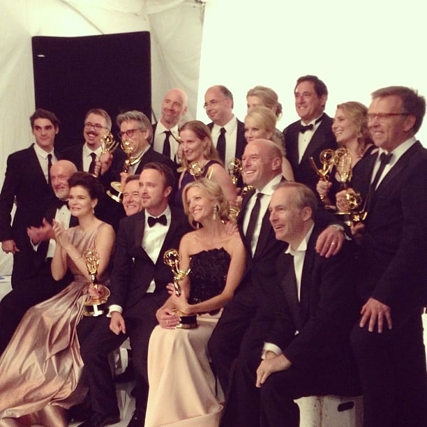 The cast of Breaking Bad posed for photos after their big win. Source: Instagram user laurenpaul8