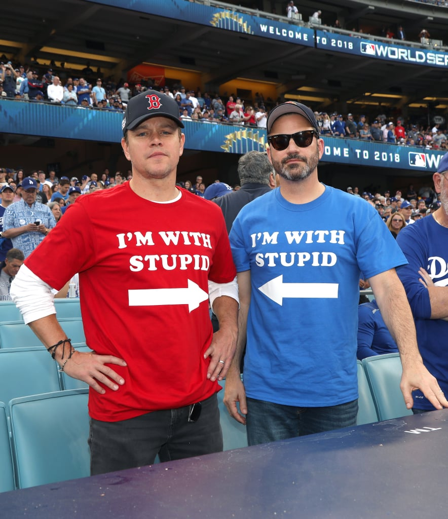 Matt Damon, Jimmy Kimmel, and Ben Affleck at World Series