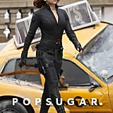 Scarlett looked sexy in a skintight black catsuit while on the set of The Avengers in 2011.