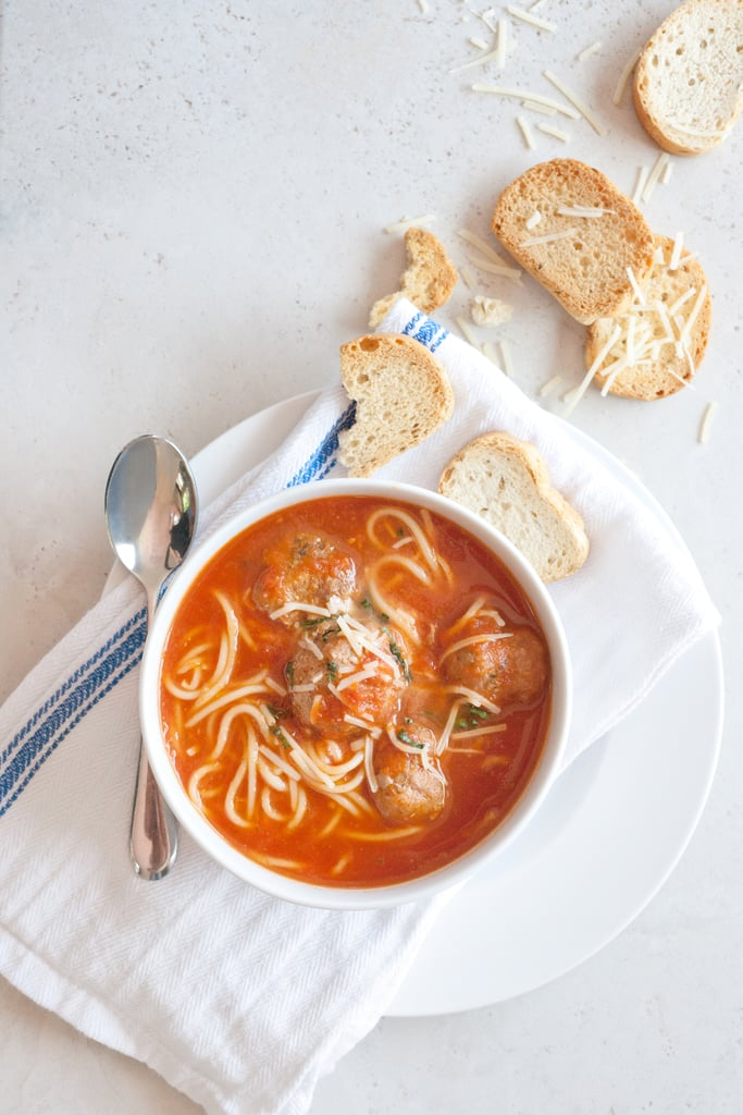 Spaghetti and Turkey Meatball Soup