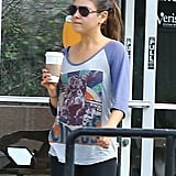 Mila Kunis stopped for a coffee in LA.