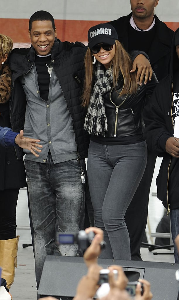 In November 2008, Jay-Z and Beyoncé showed their patriotic spirit at the Promote the Vote rally for Barack Obama in Philadelphia.