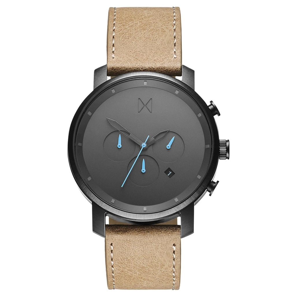 The sandstone leather strap on the MVMT Chrono Series Watch ($135) is perfectly paired with icy blue hands.