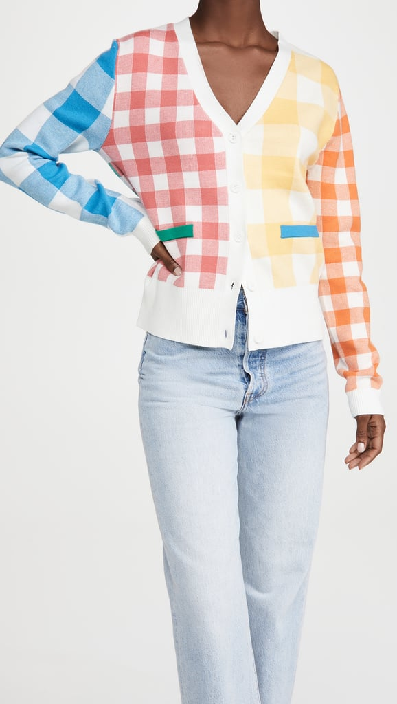 English Factory Colorblock Check Cardigan