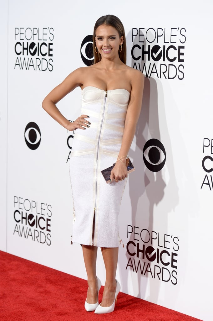 Jessica Alba's white-on-white Jason Wu bandage dress proved a sleek and sophisticated red carpet route. An edgy zip detail updated the classic silhouette.
