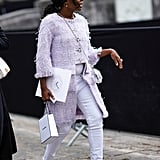 With a Mauve Fringed Jacket and Matching Pumps