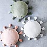 Velvet Sage Round Pillow With Tassels
