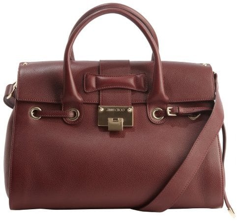 Jimmy Choo Dark Red Leather Rosalie Convertible Top Handle Satchel ($1,550)