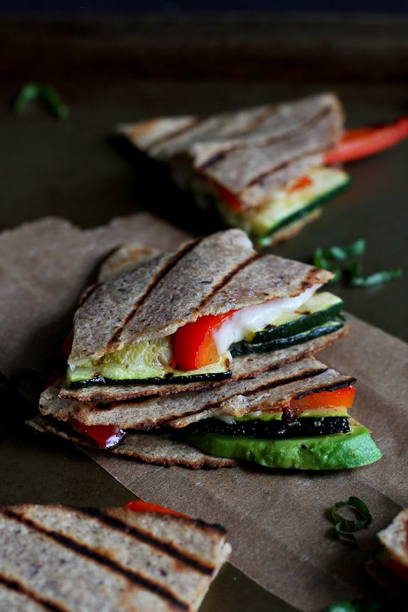 Grilled Quesadillas With Avocado, Zucchini, and Basil