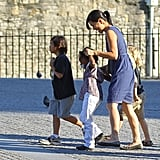 Pax, Shiloh, and Zahara check out the Tower of London with their nanny.
