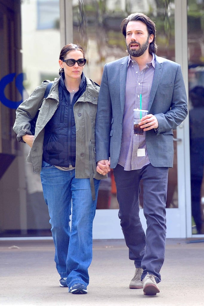 Jennifer Garner and Ben Affleck held hands during an afternoon in LA today. They were layered up for the outing, which included a stop at Starbucks. Jen and Ben welcomed their third child, Samuel, last month, but we have yet to see the little guy in public. His older sisters have been out and about, though, with Violet popping up at a friend's birthday party and Seraphina running errands with Jen in recent weeks.  Ben may be adding more to his already-busy schedule with news that he's being considered for a part in Nathan Decker, after Tom Cruise dropped out of the lead role. Ben will also get to work promoting Argo ahead of its Fall release, which he's prepping for by posting photos from the film on his Facebook page.