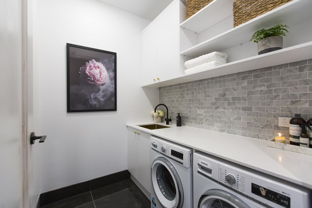 public laundry room remodel ideas the block 2016 hallway and laundry room photos popsugar home