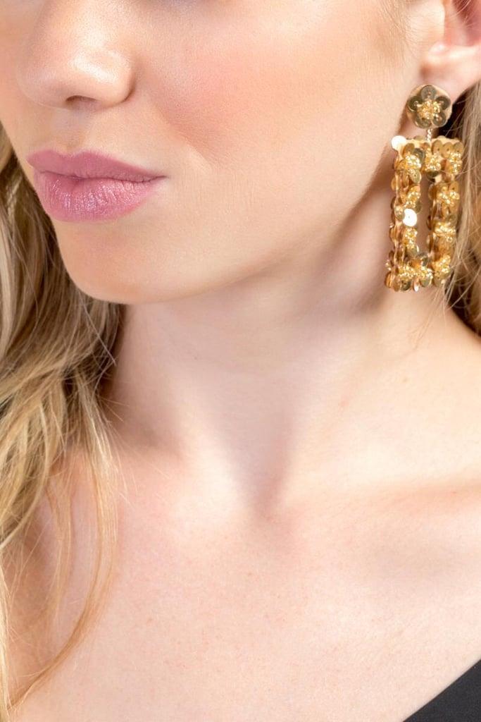 Francesca's Evelyn Rectangle Drop Earrings in Gold