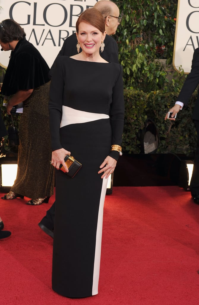 Mom of two Julianne Moore wore a minimalist Tom Ford gown with a bold black and white palette.