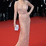 Petra Nemcova lightened things up in a nude embellished gown at the All Is Lost premiere at Cannes.