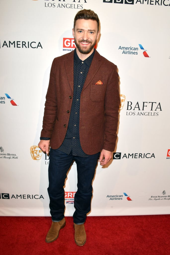"""Following his fun night out with wife Jessica Biel on Thursday, Justin Timberlake was all smiles when he arrived at the annual BAFTA Tea Party in LA on Saturday. The singer — whose song """"Can't Stop the Feeling"""" is nominated for a Golden Globe on Monday — was joined by a bevy of other stars, including Mahershala Ali, Millie Bobby Brown, Justin Hartley, and Andrew Garfield, who reunited with ex-girlfriend Emma Stone at the AFI Awards on Friday. Justin hasn't won a Golden Globe for his singing chops just yet, but his song """"Please Mr. Kennedy"""" with Oscar Isaac and Adam Driver from the film Inside Llewyn Davis was nominated for best original song back in 2014. Wishing Justin the best of luck on Monday!      Related:                                                                                                           The Only Thing Cuter Than Jessica Biel's Dance Moves Is Justin Timberlake's Reaction to Them"""