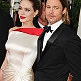 Angelina and Brad strike a pose.