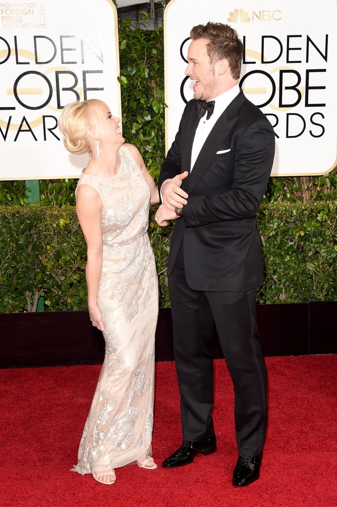 Cute couple Chris Pratt and Anna Faris stepped out for the Golden Globe Awards on Sunday, cracking each other up while they walked the red carpet. Chris is among this year's group of Golden Globe presenters, and he has a reason to be excited about this year's nominees, as he voiced the lead character for The Lego Movie, which is nominated for best animated film. He and Anna have had a fun start to award season — Chris made an adorable cameo with Anna at the People's Choice Awards, where she hosted alongside her Mom costar Allison Janney. Check out the best snaps of the pair's night, and then see all the celebrity couples at the Golden Globes!