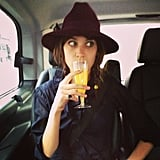 Alexa Chung got the party started with a mimosa while en route to Glastonbury. Source: Instagram user chungalexa